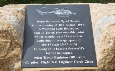 Unveiling of stone plaque at Westhay, nr Glastonbury, 11th August 2016, to mark 30th anniversary of the World Helicopter Speed Record, set by G Lynx, built by Westland in Yeovil, 11th August 1986